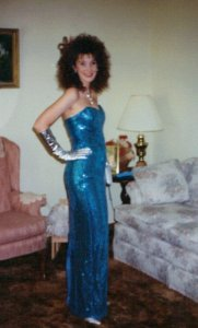 Ignore the big hair. I was a size 6 in this photograph. This dress had to be taken in from a size 9.
